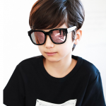 แว่นตา (UV400) กรอบสีดำเลนส์สีชมพู แพ็ค 5อัน ฟรีไซส์