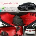 ผ้ายางปูพื้นรถยนต์ Toyota Altis 2017 กระดุมสีแดงขอบแดง