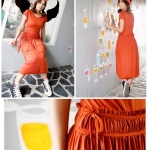 Midi dress มิดี้เดรสผ้ายืด สีส้ม