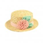 [พร้อมส่ง] H3543 หมวกสานแฟชั่น ปีกสั้น ทรงเค้ก ตกแต่งด้วยดอกไม้และใบไม้ชีฟอง ใส่กันแดด หรือใส่เที่ยวน่ารักแบบสาวญี่ปุ่นค่ะ