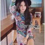 [พร้อมส่ง] เสื้อผ้าแฟชั่นเกาหลี Lady Ribbon's Made เดรสทรงจัมเปอร์พิมพ์ลายซ้อนสไตล์ฮิปปี้สุดเก๋ โทนเขียว