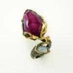 แหวนจีโอ๊ดหรือโดซี่สีชมพู (Pink Tabasco Geode Silver Ring)