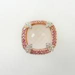 แหวนโรสควอตซ์ล้อมโรโดไรท์ (Rose Quartz Silver Ring with Blue Topaz and Rodo Rite)
