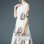 [พร้อมส่ง] เสื้อผ้าแฟชั่นเกาหลีเดรสลุคเรียบหรู เนื้อผ้าorganzaหนา แต่เย็บงานปักลายดอกไม้สวยทั่วตัว งานมีซับในอย่างดีนะคะ ดีเทลแขนยาวสี่ส่วน มีซิปด้านหลัง