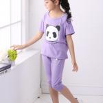 เสื้อ+กางเกง สีม่วง แพ็ค 5 ชุด ไซส์ 100-110-120-130-140