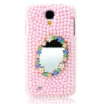 Case S4 เคส Samsung Galaxy S4 i9500 เคสประดับมุดลูกปัดสีชมพูเต็มเคสมีกระจกเงาประดับดอกไม้สวยๆ