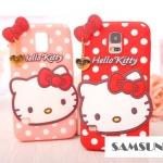 เคส S5 Case Samsung Galaxy S5 คิตตี้ ซิลิโคนนิ่มๆ พื้นลายจุดน่ารักๆ มีสายห้อยหัวใจทองสวยๆ Kitty Polka Dot pendant Silicone Case 3D -B-
