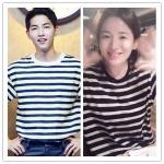 เสื้อยืด (T-Shirt) ลายขวาง แบบ Joongki+Hyekyo