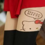 [พร้อมส่ง] P3604 ถุงน่องสีเนื้อ พิมพ์ลายคิตตี้ด้านข้าง Side Kitty