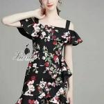 [พร้อมส่ง] เสื้อผ้าแฟชั่นเกาหลี เดรสค็อกเทล ดีไซน์ผ้าpolyester100% พิมพ์ลายดอกไม้สีสดใสบนผ้าพื้นสีดำ