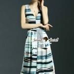 [พร้อมส่ง] เสื้อผ้าแฟชั่นเกาหลี จั้มสูททรงเก๋ด้วยทรงคอวีกางเกงทรงคูลอตต์ ทรงสวยเก๋สไตล์สาวผู้ดี สวยเก๋ด้วยงานพิมพ์ลายริ้วแนวอาร์ต ใช้โทนสีแบบพาสเทลๆ