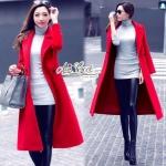 [พร้อมส่ง] เสื้อผ้าแฟชั่นเกาหลีเสื้อโค้ทสีแดงตัวยาว ดูแพง และหรู เลยนะคะ เป็นโค้ทงานพรีเมี่ยม ด้านใน บุซับใน อย่างหนา ด้านนอกใช้ผ้า Wool เนื้อเนียน เป็น โค้ท