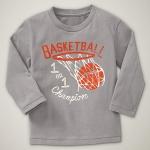 GP115 baby Gap เสื้อผ้าเด็ก เสื้อยืดแขนยาว เนื้อนุ่ม สีเทา สกรีนลาย Basketball Size 18M/2Y/3Y/4Y/6Y