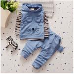 เสื้อตัวนอก+เสื้อตัวใน+กางเกง สีฟ้า แพ็ค 4ชุด ไซส์ S-M-L-XL