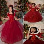 ชุดเจ้าหญิง +ผ้าคลุม สีแดง P30928 แพ็ค 5ชุด ไซส์ 110-120-130-140-150 (เลือกไซส์ได้)
