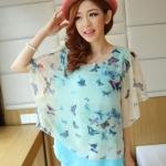 [พร้อมส่ง] เสื้อผ้าแฟชั่นเกาหลี เสื้อแฟชั่นเกาหลี ผ้าชีฟอง แต่งลายผีเสื้อ มีซับใน แบบสวม สีฟ้า