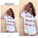 Love Is T-Shirt เสื้อยืดเลเซอร์คัทลายตัวอักษร สีขาว