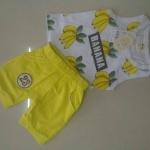 ชุดเซตลายกล้วยสีเหลือง [size 1y-2y-3y]