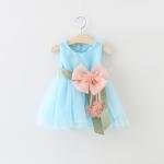 ชุดเดรสสีฟ้าแต่งดอกไม้ที่เอว [size 6m-1y-3y-4y]