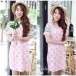 Sweet Polka Dot Dress เดรสพิมพ์ลายจุดสีหวาน สีชมพู