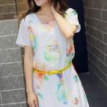 [พร้อมส่ง] เสื้อผ้าแฟชั่นเกาหลีราคาถูก เดรสแฟชั่นเกาหลี ผ้าชีฟอง มีซับใน แบบสวม โทนสีขาว