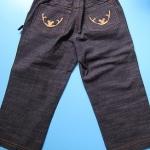 LES043 LES ENPhANTS - Disney Baby เสื้อผ้าเด็กหญิง ยีนส์สาวน้อยมีพู่ตรงกระเป๋า ปักลายมิกกี้ ROCKING BABY Size 3Y-3X ราคาป้าย 650 บาท