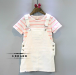 เสื้อ+เอี๊ยมกระโปรง สีชมพู แพ็ค 5 ชุด ไซส์ 7-9-11-13-15