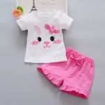 ชุดเซตลายหน้ากระต่ายติดโบว์สีบานเย็น [size 1y-2y]