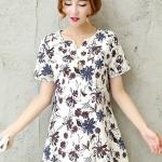 [พร้อมส่ง] เสื้อผ้าแฟชั่นเกาหลีราคาถูก เสื้อแฟชั่นเกาหลี ผ้าฝ้ายเนื้อผสม แต่งลายดอกไม้ แบบสวม สีตามภาพ