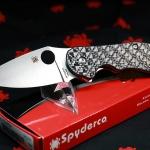 Spyderco Domino Glass Weave G-10 Flipper Knife C172CFTIP