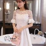 [พร้อมส่ง] เสื้อผ้าแฟชั่นเกาหลี เดรสผ้าลูกไม้คอสูงตัดต่อกระโปรงผ้าคอตตอนสุดหรูสไตล์Self-portrait ตัวนี้ทรงเก๋มากๆ