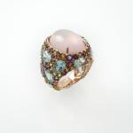 แหวนโรสควอตซ์ล้อมพลอยแฟนซี (Rose Quartz Silver Ring with Fancy Gems)