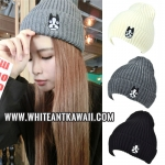 [พร้อมส่ง] H6503 หมวกไหมพรมกันหนาว สไตล์เกาหลี ปักลายน้องหมาน้อย Cute Dog