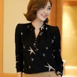 [พร้อมส่ง] เสื้อผ้าแฟชั่นเกาหลี เสื้อแขนยาวแฟชั่นเกาหลี ผ้า Pearl Chiffon ไม่มีซับใน แบบสวม สีดำ