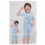 ชุดเซท เสื้อ+กางเกง สีฟ้า แพ็ค 6ชุด ไซส์ 90-100-110-120-130-140