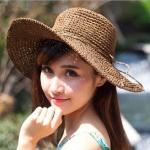 [พร้อมส่ง] H6974 หมวกสานปีกกว้าง/หมวกไปทะเล ตกแต่งด้วยเชือกร้อยรอบหมวก สานเชือกนิ่ม สไตล์โครเชต์