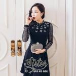 [พร้อมส่ง] เสื้อผ้าแฟชั่นเกาหลี เดรสเรียบหรู เนื้อผ้าpolyester โดดเด่นด้วยสีดำคลาสสิค ช่วงคอและอกประดับด้วยcrystalเพชรหรูหราอัดแน่น