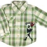 SH003 เสื้อเชิ้ตเด็กแขนยาว ผ้าคอตตอน ลายตารางสีเขียวอ่อน กระเป๋าตรงอก สกรีน International Sport Winner Cup Size 6/8/10/12