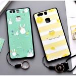 เคส Huawei P9 พลาสติก TPU ยืดหยุ่นได้สกรีนลายน่ารักมากๆ + แหวนที่ตั้งและสายคล้อง ราคาถูก