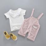 ชุดเซตเอี๊ยม mini สีชมพูพร้อมผ้าพันคอ [size 6m-1y-2y-3y]