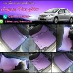 ยางปูพื้นรถยนต์เข้ารูป Toyota Vios 2012 ธนูสีม่วงขอบดำ