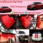 ขายพรมปูพื้นรถยนต์เข้ารูป Mini Cooper Contryman ไวนิลสีแดงขอบแดง