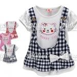 M3729 Strawberry เสื้อยืดตัวยาว เด็กหญิง สีขาว ปักแปะน้องเหมียว Happy Cat ด้านนอกเป็นเอี๊ยมลายสก็อตผ้าคอตตอนเย็บติดกับตัวเสื้อเหลือ Size 7/11/13