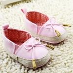 รองเท้าหัดเดินเด็กเล็กลายแต่งโบว์สีชมพู แพ็ค 3 คู่ [size 11-12]