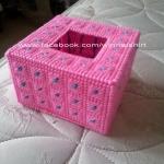 กล่องทิชชูแผ่นเฟรม Pop up สีชมพู (ทำสำเร็จ)