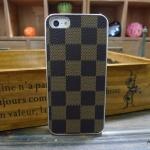 case iphone 5 เคสไอโฟน5 เคสหนังเกาะหลัง ขอบโลหะมนๆเงาๆ ลายตารางสุดคลาสสิค สวย ดูหรูหรา เรียบ บาง luxury Apple iPhone 5G classic