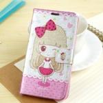 เคส note 3 Case Samsung Galaxy note 3 กระเป๋าฝาพับข้าง ลายการ์ตูนตุ๊กตาเด็กผู้หญิงญี่ปุ่น ผิวเป็นประกาย วิ๊งๆ น่ารักๆ เคสมือถือราคาถูกขายปลีกขายส่ง
