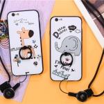 เคส iPhone 6 Plus / 6s Plus พลาสติกสกรีนการ์ตูน พร้อมแหวานในตัว + สายคล้อง ราคาถูก