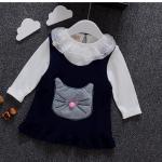 เสื้อ+ชุดกระโปรง สีกรม แพ็ค 4ชุด ไซส์ 6-8-10-12