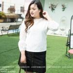 [พร้อมส่ง] เสื้อผ้าแฟชั่นเกาหลีไซส์ใหญ่ เสื้อลูกไม้สีขาว ซีทรูช่วงคออกและแขน แขน 4 ส่วน ทรงโคมไฟมีซับในช่วงตัว